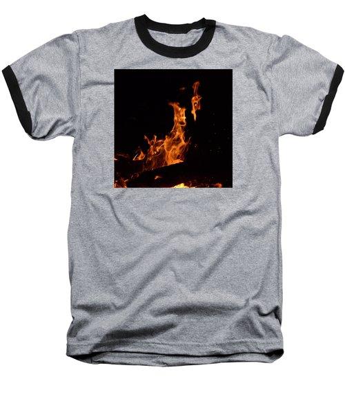 Pareidolia Fire Baseball T-Shirt by Janet Rockburn
