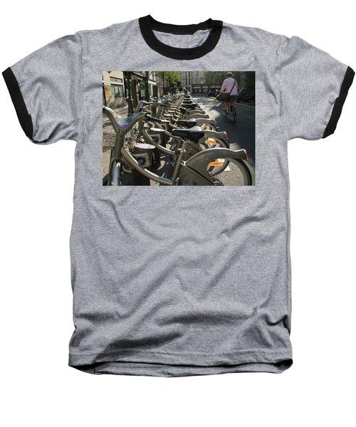 Paris By Bike Baseball T-Shirt by Yoel Koskas