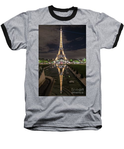 Paris Eiffel Tower Dazzling At Night Baseball T-Shirt by Mike Reid