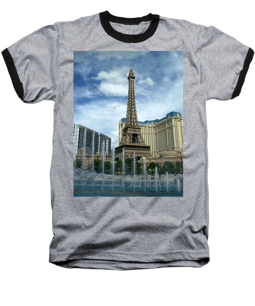 Paris Hotel And Bellagio Fountains Baseball T-Shirt