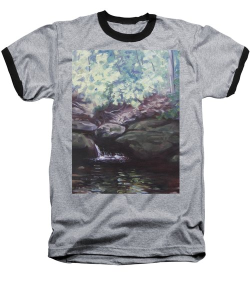 Baseball T-Shirt featuring the painting Paris Mountain Waterfall by Robert Decker