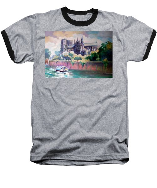 Paris Notre Dame Baseball T-Shirt by Paul Weerasekera