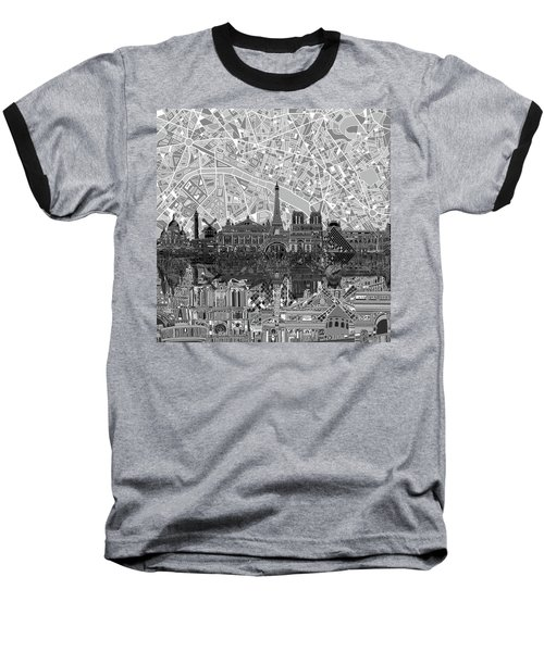 Baseball T-Shirt featuring the painting Paris Skyline Black And White by Bekim Art
