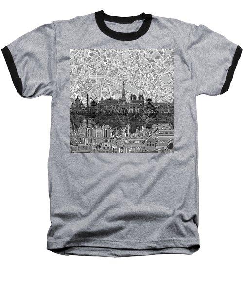 Paris Skyline Black And White Baseball T-Shirt