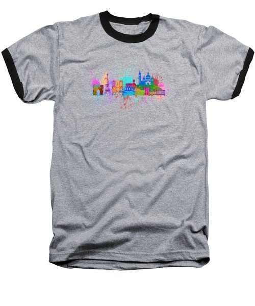 Paris Skyline Paint Splatter Color Illustration Baseball T-Shirt