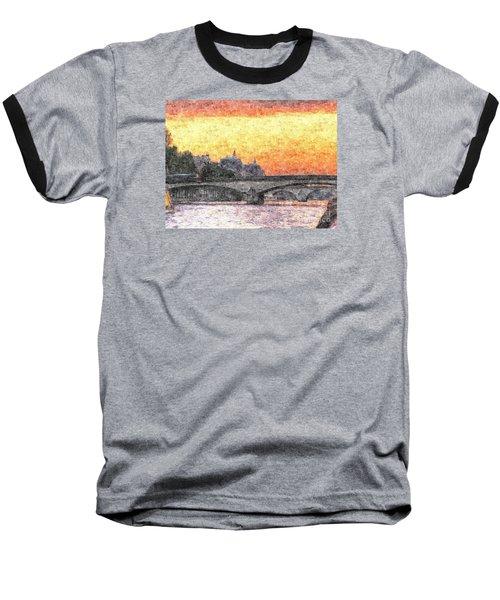 Paris Sunset Baseball T-Shirt by Yury Bashkin