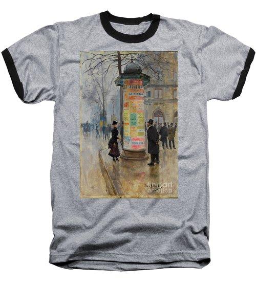 Parisian Street Scene Baseball T-Shirt by John Stephens
