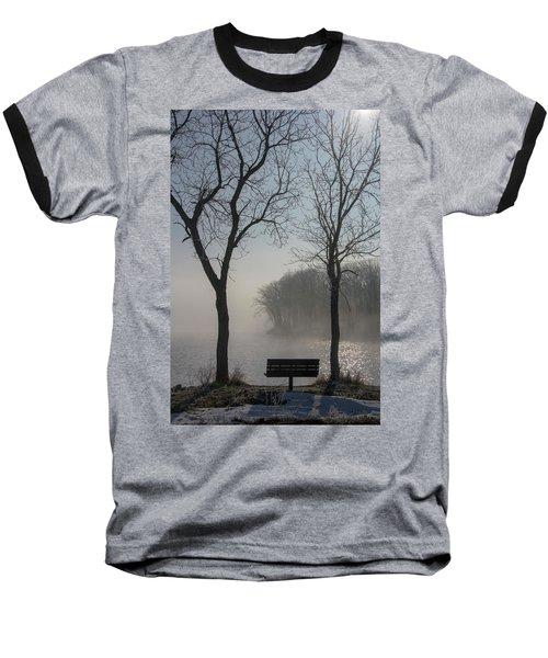 Park Bench In Morning Fog Baseball T-Shirt