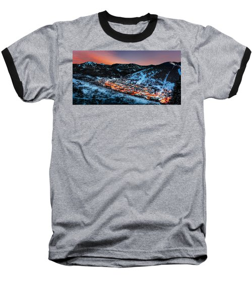Park City Winter Sunset Baseball T-Shirt