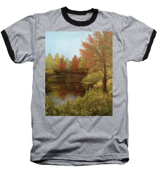 Park In Autumn Baseball T-Shirt by Angela Stout
