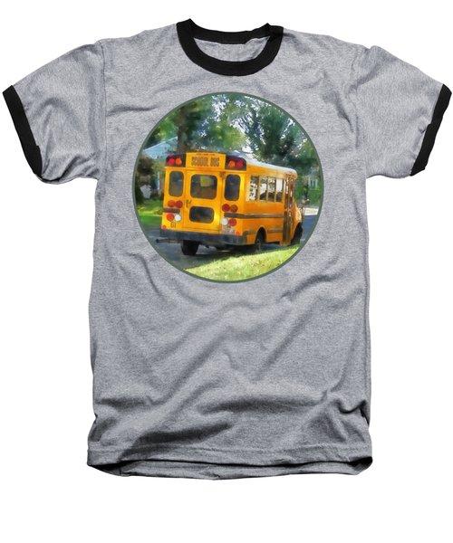 Parked School Bus Baseball T-Shirt by Susan Savad
