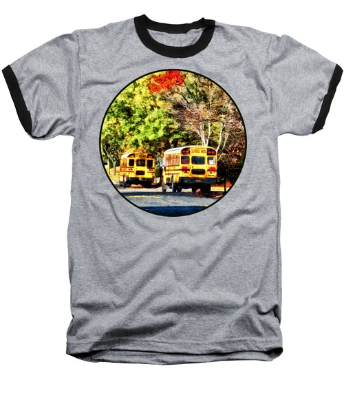 Parked School Buses Baseball T-Shirt by Susan Savad