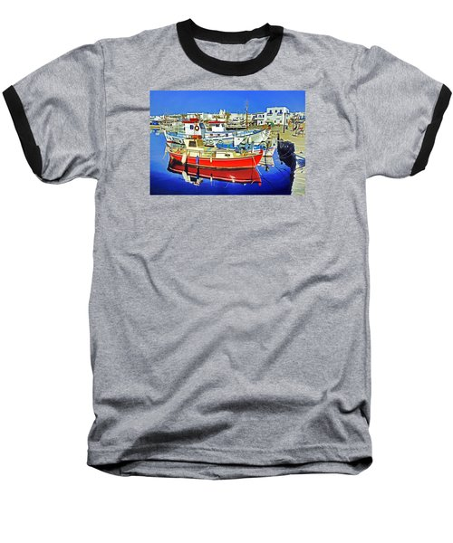 Baseball T-Shirt featuring the photograph Paros Fishing Boats by Dennis Cox WorldViews