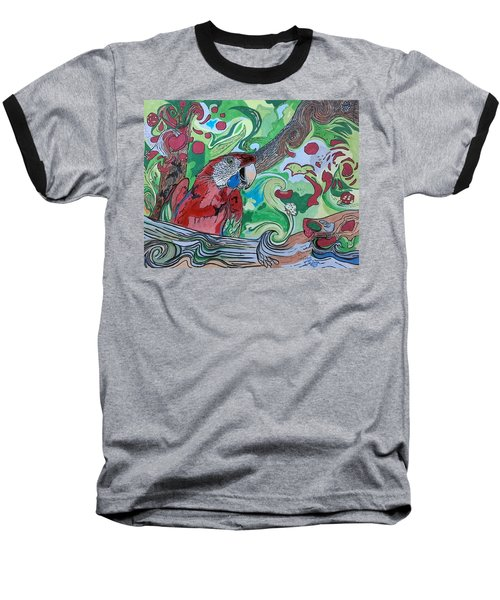 Parrot Kaleidoscope  Baseball T-Shirt by Tony Clark