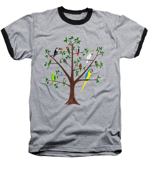 Parrot Tree Baseball T-Shirt by Rita Palmer