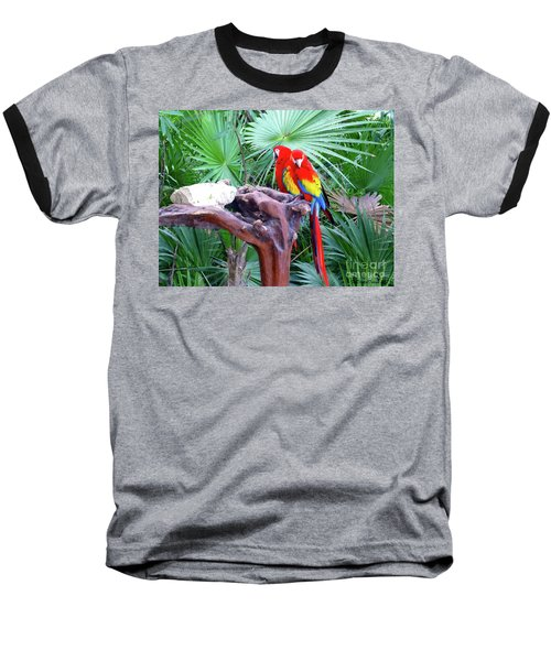 Baseball T-Shirt featuring the digital art Parrots by Francesca Mackenney