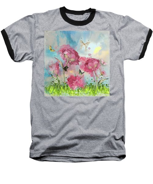 Party In The Posies Baseball T-Shirt by Diana Boyd