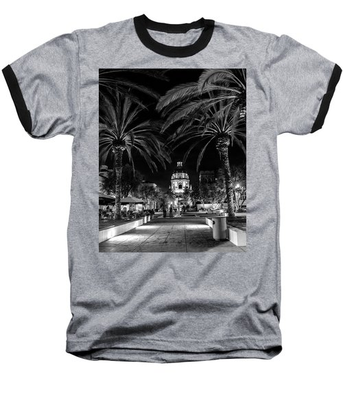 Baseball T-Shirt featuring the photograph Pasadena City Hall After Dark In Black And White by Randall Nyhof