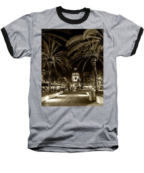 Baseball T-Shirt featuring the photograph Pasadena City Hall After Dark In Sepia Tone by Randall Nyhof
