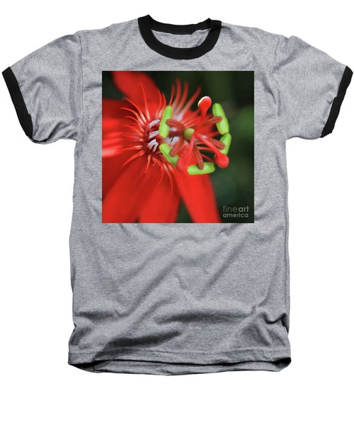 Baseball T-Shirt featuring the photograph Passiflora Vitifolia Scarlet Red Passion Flower by Sharon Mau
