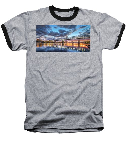 Passing Clouds Above Chattanooga Pano Baseball T-Shirt by Steven Llorca