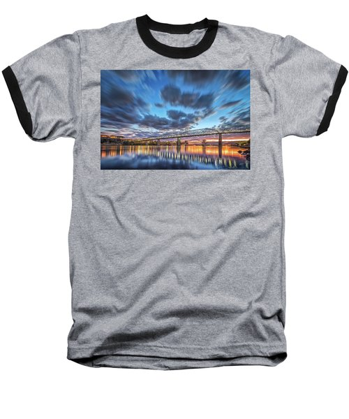 Passing Clouds Above Chattanooga Baseball T-Shirt by Steven Llorca