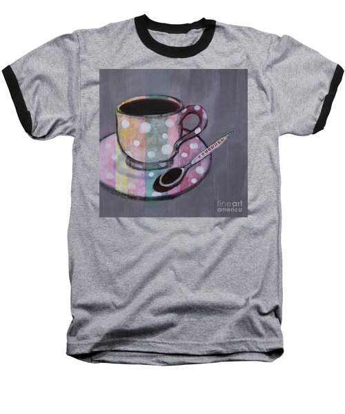 Baseball T-Shirt featuring the painting Pastel Stripes Polka Dotted Coffee Cup by Robin Maria Pedrero
