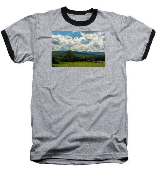 Baseball T-Shirt featuring the photograph Pastoral Landscape With Mountains by Nancy De Flon