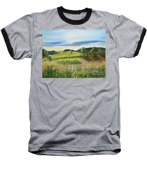 Baseball T-Shirt featuring the painting Pasture Love At Chateau Meichtry - Ellijay Ga by Jan Dappen