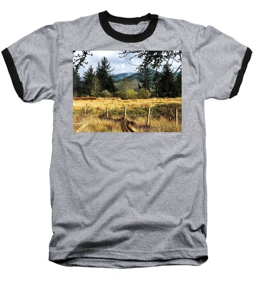 Pasture, Trees, Mountains Sky Baseball T-Shirt