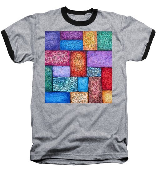 Baseball T-Shirt featuring the drawing Patchwork by Megan Walsh