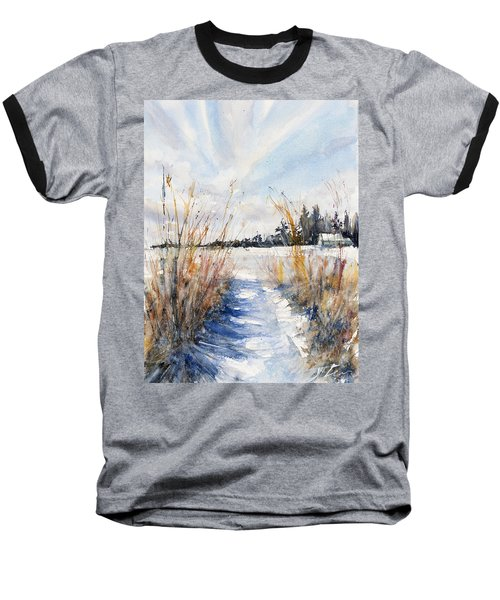 Path Shadows In The Way Back Baseball T-Shirt by Judith Levins
