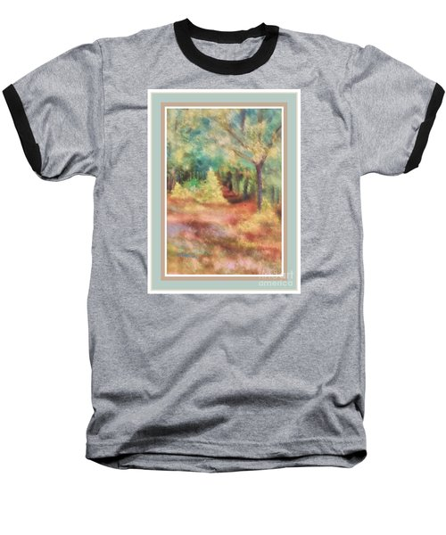 Baseball T-Shirt featuring the photograph Path Shortcut Green Border by Shirley Moravec