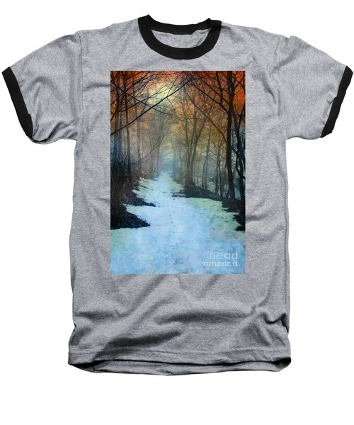 Path Through The Woods In Winter At Sunset Baseball T-Shirt