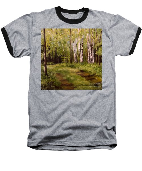 Path To The Birches Baseball T-Shirt by Laurie Rohner
