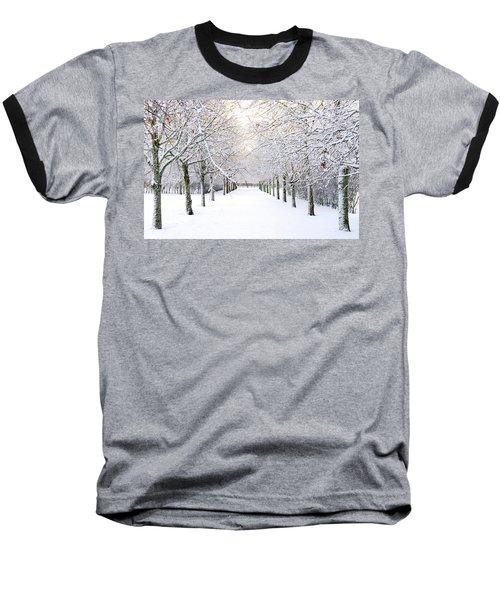 Pathway In Snow Baseball T-Shirt by Marius Sipa