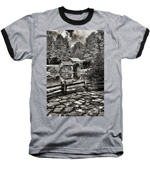 Pathway To Marby Mill In Black And White Baseball T-Shirt by Paul Ward
