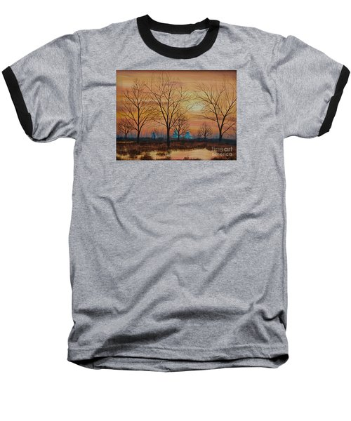 Baseball T-Shirt featuring the painting Patomac River Sunset by AnnaJo Vahle