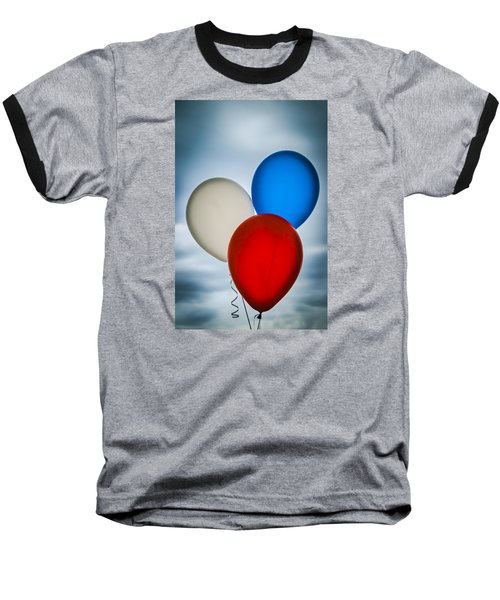 Patriotic Balloons Baseball T-Shirt by Carolyn Marshall