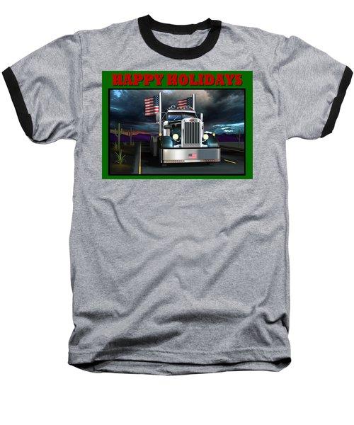 Patriotic Pete Happy Holidays Baseball T-Shirt by Stuart Swartz