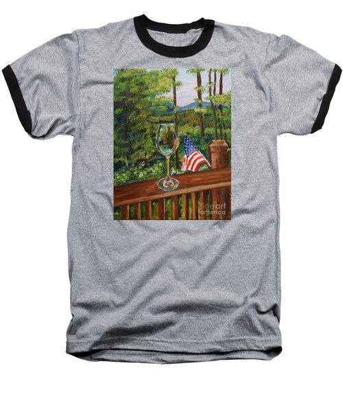 Baseball T-Shirt featuring the painting Star Spangled Wine - Fourth Of July - Blue Ridge Mountains by Jan Dappen