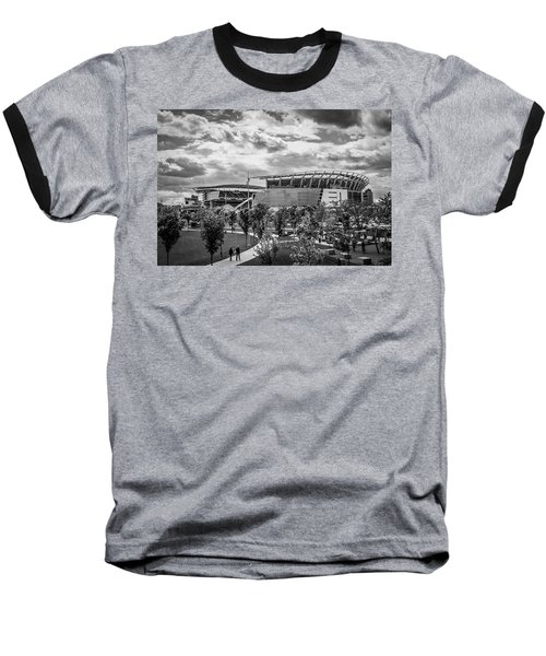 Paul Brown Stadium Black And White Baseball T-Shirt by Scott Meyer