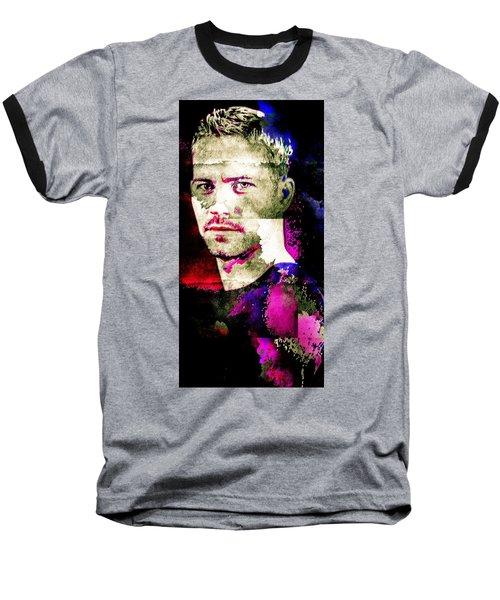 Paul Walker Baseball T-Shirt by Svelby Art