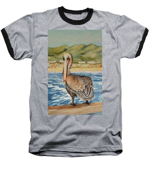 Baseball T-Shirt featuring the painting Paula's Pelican by Katherine Young-Beck