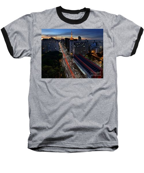 Paulista Avenue And Masp At Dusk - Sao Paulo - Brazil Baseball T-Shirt