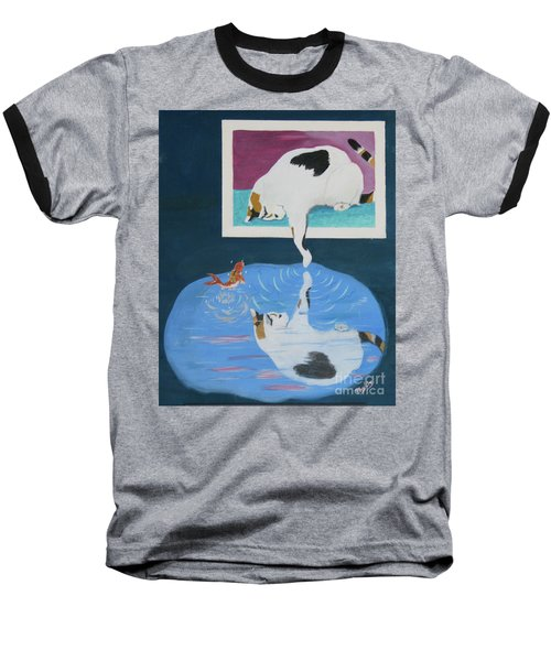 Baseball T-Shirt featuring the painting Paws And Effect by Phyllis Kaltenbach