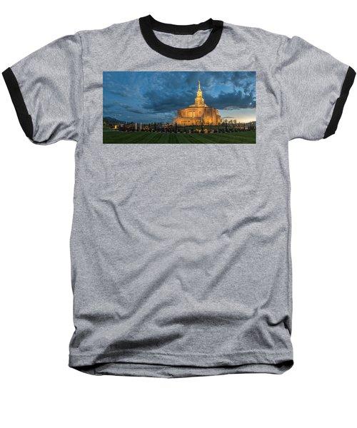 Payson Temple Panorama Baseball T-Shirt