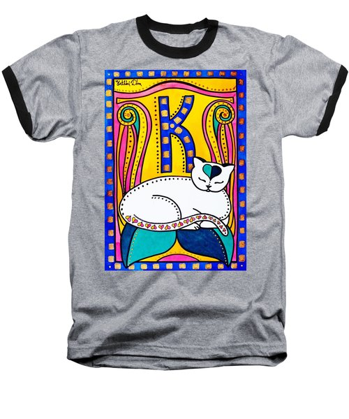 Peace And Love - Cat Art By Dora Hathazi Mendes Baseball T-Shirt by Dora Hathazi Mendes