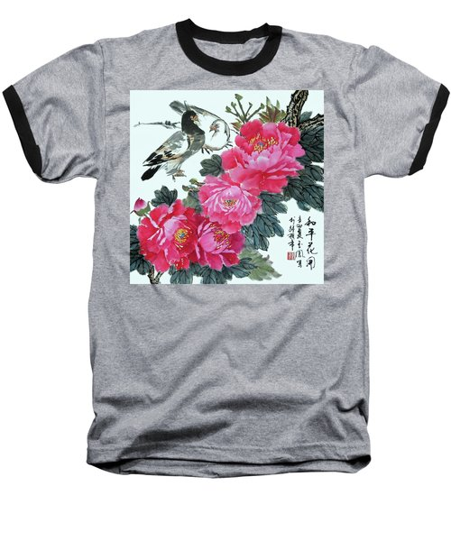 Peace Flowers Baseball T-Shirt