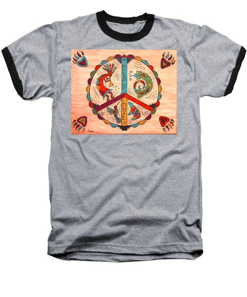 Baseball T-Shirt featuring the painting Peace Love And Harmony by Susie WEBER